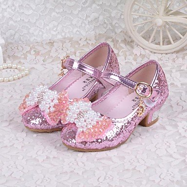 LIDOG Mariage Habillé Décontracté-Bleu Rose-Talon Bas-Confort Light Up Chaussures-Chaussures à Talons-Paillette Pink