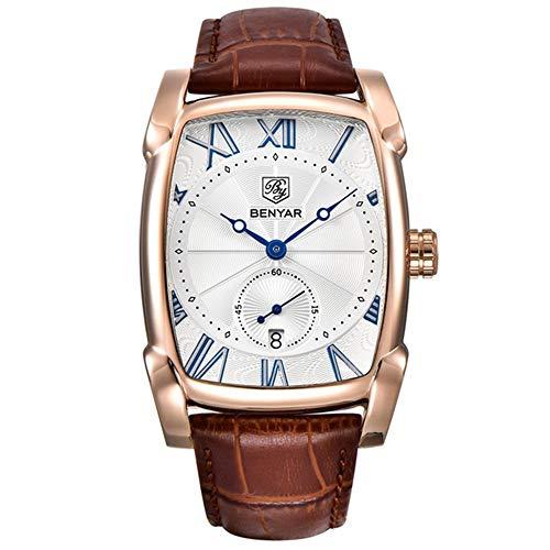 GOHUOS Herren Rechteck Uhr, Quadratische Lederuhren Wasserdicht Analoges Datum Herren Business Quarz-Armbanduhr mit Roségold Gehäuse