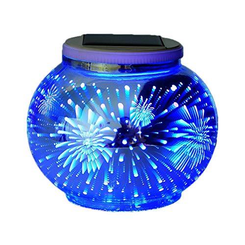 Solar 3D licht,SUAVER Mosaik Ball Lampe Farbwechsel Nachtlicht,Wasserdichter LED Gartenleuchten,Tischlampe Stimmung Licht Party Deko Lampe für Garten,Patio,Tabelle,ideales Geschenk(Feuerwerk)
