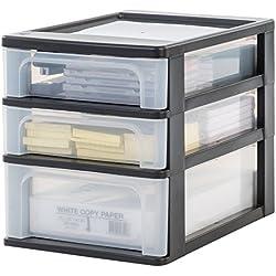 Iris Organizer Chest OCH-2021 Schubladen-/ Tischschubladen-/ Bürobox, Aufbewahrung für Schreibtisch, Kunststoff, schwarz / transparent, 35,5 x 26 x 29,5 cm