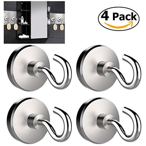 WINOMO Magnethaken Super Starker Neodym Hacken Magnet Haftkraft 10 KG 32mm Durchmesser 4 Stück