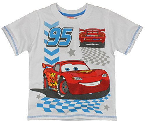 Image of Disney Cars Lightning McQueen Boys Short Sleeved T Shirt - Ages 2 - 7 Years (5 Years, White)