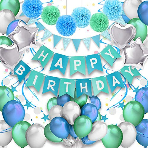 (PushingBest Geburtstagsdeko, Geburtstag Dekoration Set Happy Birthday Banner Girlande Dreieckige Wimpel Mit hochwertig Latexballon, Stern / Herz Folienballons, Papier Pompoms und Spiralen Dekoration)