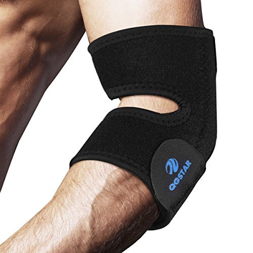 51THLwaHoEL - Tennis Golfer Elbow Support, QGSTAR Adjustable Elbow Brace Breathable Neoprene Training Elbow Wrap Arm Band Reviews and price compare uk