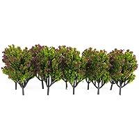 10pcs 1:100 Árboles Modelo Artificial Plástico para Escena Del Ferrocarril Verde Flor Fucsia