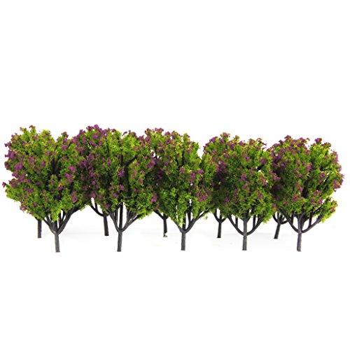 10pcs 1:100 Árboles Modelo Artificial Plástico para Escena Del Ferrocarril Verde Flor...