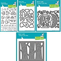 Lawn Fawn - Let's Go Nuts, Acorn House & Lift The Flap Tree Background - Stamps and Dies - 4 Item Bundle