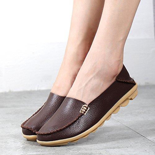 Gaatpot Mocassins Femme Casual Cuir Plates Loafers Chaussures de Conduite, 15 Couleurs Marron