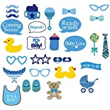 31tlg. Foto Verkleidung It's A Boy Foto Booth Props Baby Taufen Shower Party