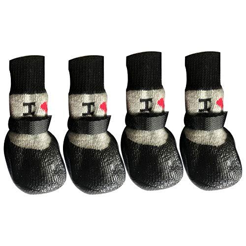 Asien Calcetines de Mascotas 4 Piezas Antideslizante Calcetines para Perros Zapatos del Animal doméstico de la Pata del Protector de Goma con Gatito Gato Calcetines Negro Tamaño S
