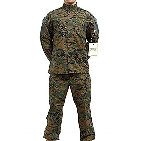 QMFIVE Tactical Woodland Digital Hommes BDU Combat Uniforme Veste T-shirt et Pantalon Suit Woodland Camo pour Guerre Guerre Armée Militaire Paintball Airsoft Hunting Shooting(M)