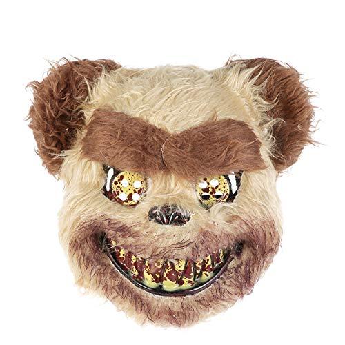 Maskerade Beängstigend Kostüm - Amosfun Bärenmaske beängstigend böse Vollgesichtsplüsch gespenstisch blutige Stütze für Halloween Maskerade Cosplay Party Kostüm