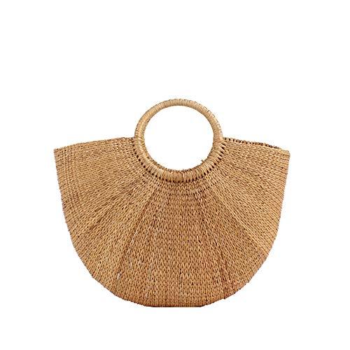 JAY-LONG Natural Wheat Straw Woven Totes, Damenhandtaschen, Strandtasche, Geflochtener Runder Holzgriff, Integrierte Handytasche, 24 * 40 cm -