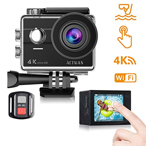 Action Cam 4k WiFi Unterwasser Kamera 16MP Ultra HD Touchscreen Sports Camera 30M Wasserdicht Unterwasserkamera Helmkamera mit 2 Batterien und Kostenlose Zubehör Kits Kompatibel mit GoPro