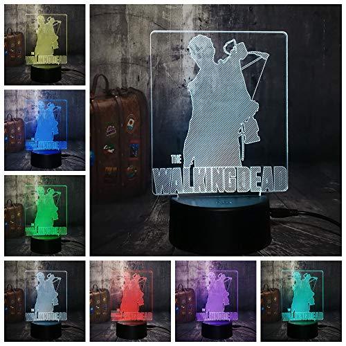 SSYYJJ 3D Nachtlicht Kind Lampe LED 7 Farbwechsel Nacht Dekor Bestes Geschenk USB Walking Dead Daryl Dixon Cool mit Fernbedienung -