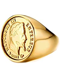 BOBIJOO Jewelry - Chevalière Bague Dorée Or Fin Massive Ronde Pièce 20 Francs NAPOLEON Tête Laurée