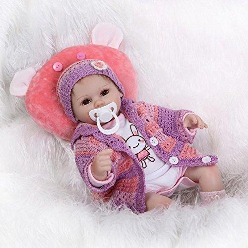 Nicery 18inch Renacido de la muñeca de silicona suave vinilo 45cm magnética Boca realista Niño Niña de juguete rojo almohada ojos abiertos Reborn Doll A3ES
