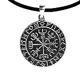 Anhänger Wikingerkompass Vegvisir Keltischer 925er Silber Schmuck Amulett Reise Talisman mit Lederhalsband Schmucksäckchen und Karte - 5903