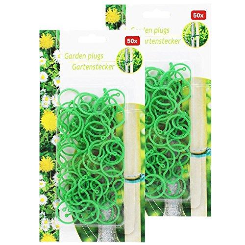 com-four® 100x Pflanzenbinder, Pflanzenhalter, Gartenstecker, grün