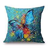 Linkla Danniol Artistdecor Pillow Covers of Butterfly,for Bf,Outdoor,Birthday,Dance Room,Office,Husband 18 X 18 Inches/4