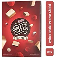 Charliee Soft Malai Chikki - Lychee Peanut Malai Chikki - Light and Healthy Indian Sweet - Gift Pack – 200 g - Pack of 5