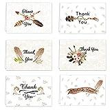 48 Dankeskarten Set, Kraftpapier, verschiedene Grußkarten, Dankeskarten, Umschläge, Dankeskarten, Aufkleber für Hochzeit, Abschluss, Geburtstag, Festivals, Trauer 24pcs Vintage