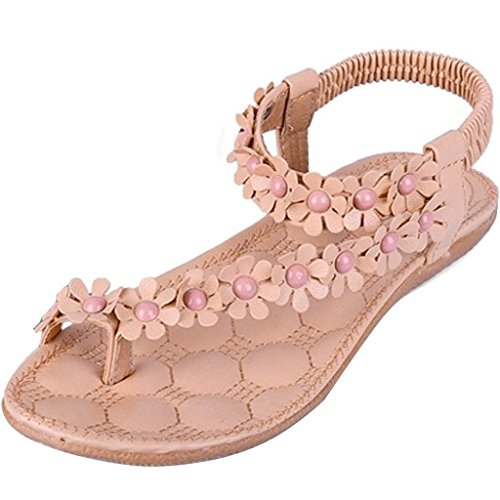 iLory Femmes Bohême Fleur Perle Tongs Sandales Plates Pince Orteils Sandales Chaussures de Plage Kaki