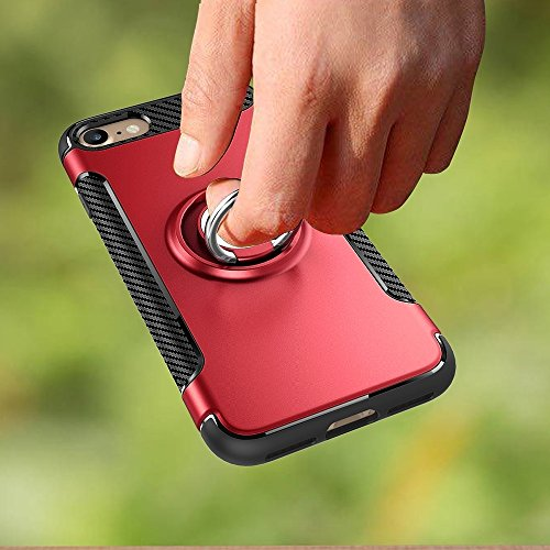 Pour iPhone 7 Phone Ring Armor TPU + PC 360 degrés Rotation magnétique Phone Ring Stent Combination Case JING ( Color : Blue ) Red