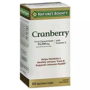 Nature's Bounty Triple Strength Natural Cranberry with Vitamin C - 60 Softgels