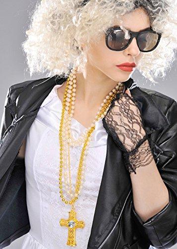 Boland 1980er Jahre Madonna Style Gold Kreuz Collier-Set
