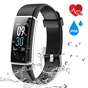 CHEREEKI Colour Screen Fitness Tracker, Fitness Trackers with 24 Hours Heart Rate Monitor IP68 Waterproof Activity Tracker & 14 Exercise Modes Smart Watch & Screen Notification SMS