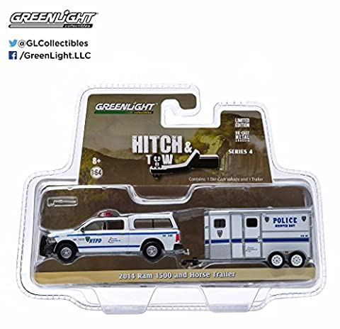 2014 Dodge Ram 1500 NYPD Pickup Truck and NYPD Horse Trailer Hitch & Tow Series 4 1/64 by Greenlight 32040
