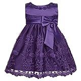 YiZYiF Baby Mädchen Kleid Prinzessin Hochzeits Taufkleid Blumenmädchen Kleider Party Festlich Kleid Festzug Kleidung Kleinkind Lila 80-86 (Herstellergröße 12M)