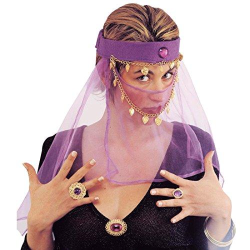 Orient Gesichtsschleier Bauchtanz Kopfschmuck lila Harem Tänzerin Schleier Arabischer Haarschmuck Haremsdame Kopf Schmuck Bollywood Kostüm Accessoire (Bauchtanz-kostüme-accessoires)
