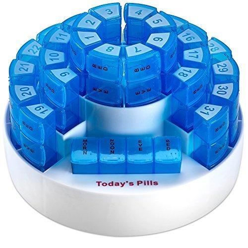 Monatliche Pillenbox von MEDca - Intelligente Medikamenten-Organisation mit mehreren Sektionen für die tägliche Einnahme, Herausnehmbare Fächer, Perfekt für Reisen