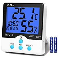 SKYEE Digital Hygrometer Thermometer, Multifunction Indoor Monitor Temperature and Humidity Meter with LCD Backlight Display, MIN/MAX Records, °C/°F Switch and Clock for Home Office Greenhouse, etc