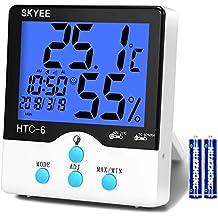 SKYEE Termómetro Higrometro Digital Interior, Medidor de Temperatura y Humedad con Retroiluminación, Registrando Máximo