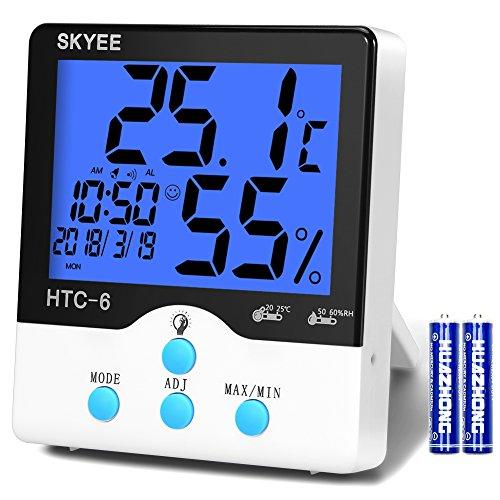 SKYEE Termómetro Higrometro Digital Interior, Medidor de Temperatura y Humedad con Retroiluminación, Registrando Máximo/Mínimo, Reloj despertador, Fecha, Hora, Semana para Habitación, Oficina, Salón