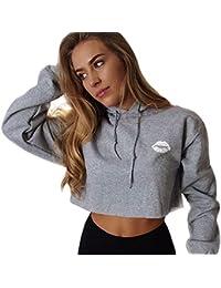 c0d4e955186 Tidecc Women Hoodies Sweatshirt Long Sleeve Plain Hooded Crop Tops Cropped  Jumper Pullovers UK 6-