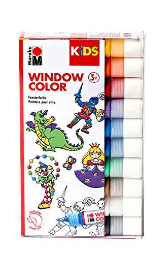 Marabu 0306000000100 - Kids Window Color Set, Farbe auf Wasserbasis, ablösbar auf glatten Flächen wie Glas, Spiegel, Fliesen und Folie, 10 x 25 ml Farbe und Malvorlage A4 mit 18 Motiven
