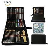 Set de dibujo de dibujo, lápices de colores en estuche grande personalizado – incluye lápices pastel, acuarela, mecánico, carbón vegetal y dibujo y accesorios para adultos artistas niños regalo