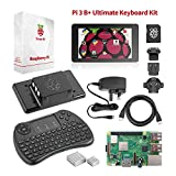 "Raspberry Pi 3 B+ Ultimate Starter-Set – Komplettes Touch & Teach-Paket mit Pi3 B+ Motherboard, 7"" Touchscreen, Tastatur, 32GB vorinstalliertem NOOBS, Originalgehäuse, 2 Kühlern, HDMI, Stromversorgung"