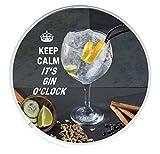 Keep Calm it 's Gin Uhr rund Getränke Untersetzer Gedruckt Auf ein Bild ein glas, Handwerk Gin und Tonic mit Botanischen Inhaltsstoffen.