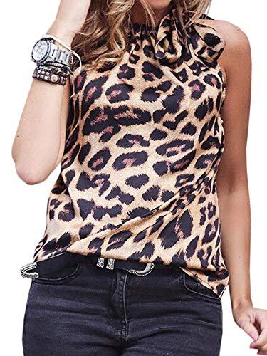 Yidarton Damen Sommer Oberteile Ärmellos Top Schleife Shirt Print Casual Tanktops Trägerlos Sexy Bluse Sexy Camouflage
