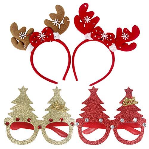 TOYMYTOY 4 Stück Rentier Geweih Stirnbänd und Weihnachten Brillen für Kinder Erwachsene (zufälliger Stil)
