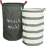 Bada Bing 2er Set Aufbewahrungskorb Wäschesack Wäschesammler Korb Anthrazit Weiß Faltbar Box (Wasch mich/Gestreift) 28