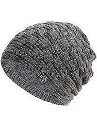 Mütze Herren Fleece Slouch Stricken Wolle Beanie Hut Winter Warme Samt Hut  im Freien Herrenmode Beanie 38ce2287c742