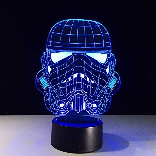 Bbdeng 3D-Nachtlicht Energie Sparen LED-Touch-Farbe Beleuchtung Kreative Kinder Schlafen Tischlampe USB Oder Batterie Anakin Skywalker Remote control (Anakin Als Kind)