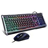 BAKTH Gaming Tastatur und Maus Set, Regenbogen LED Beleuchtung QWERTZ Deutsch Layout, Wasserdicht Beleuchtete Tastatur und Maus mit 4000 DPI für Pro PC Gamer