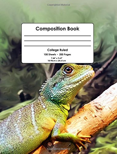 "Composition Book: Colorful Lizard, Reptiles, College Ruled School Notebook, 200 pages, 7.44""x9.69"""